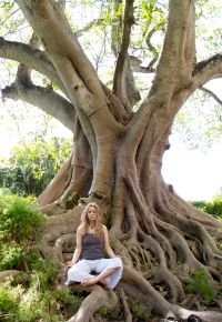 yvette Soler meditating in a banyan tree